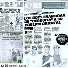 #Repost @jennifer_suarez with @repostapp  ・・・  Parte de las reseñas de @boysoficial en diarios de #Oriente, región donde han estado promocionando #CERQUITA. Gracias @lizmcorona eres the best 😘