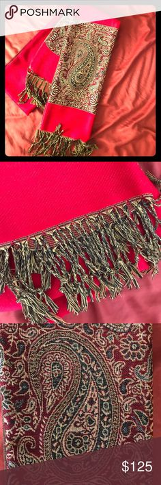 ❤️gorgeous red scarf ❤️ ❤️✨Gorgeous bright red scarf with a silky shiny paisley design on the both ends✨❤️(never been worn) Accessories Scarves & Wraps