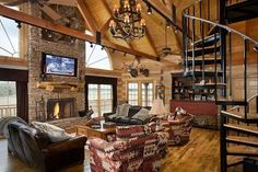 The generous living room of this log cabin.