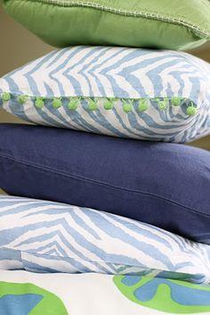 blue and green baby boy nursery pillows
