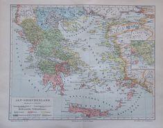 1897 Alt - Griechenland - alte Landkarte Karte old map