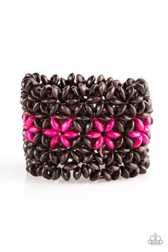 Bahama Babe - Pink Bracelet - $5  Earthy wooden accents are threaded along elastic stretchy bands, creating an ornate bracelet. Tinted in a vivacious finish, pink wooden beads gather down the center, creating summery floral accents for a colorful finish.  Sold as one individual bracelet.