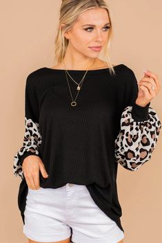 Casual Bold Black Leopard Sleeve Top - Everyday Top – The Mint Julep Boutique