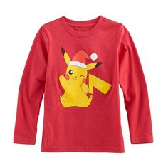 Boys 4-10 Jumping Beans® Pokemon Pikachu Santa Hat Graphic Tee, Size: 7X, Med Pink