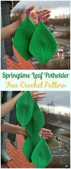 Crochet Springtime Leaf Potholder Free Pattern- #Crochet; # Potholder Hotpad Free Patterns