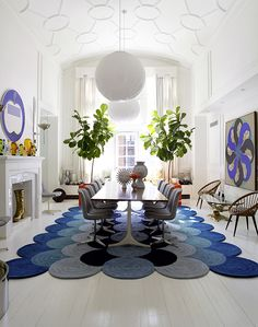 MODERN: Cobalt Blue and Grey and Whites... (love the flanking fiddle leaf ficus trees... my favorite plant!)