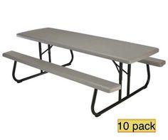 Lifetime Picnic Tables   880123 Commercial Folding Picnic Table   10 Pack