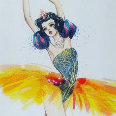 Snow White by Guillermo Meraz Fashion Illustratration