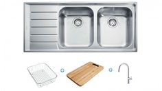Franke Neptune Sink and Tap Package - Left Hand Drainer - Sinks - Sinks & Taps - Kitchen Appliances Kitchen Taps, Kitchen Appliances, Sink Taps, Sinks, Wooden Chopping Boards, Harvey Norman, Left Handed, Packaging