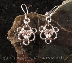 Aura earrings in silver | by Redcrow at Corvus Chainmaille