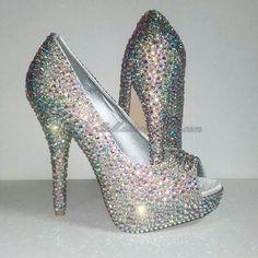 Cristal Peep Toe Calçados de sapatos de cristal de noiva por MademoiselleShoes