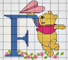 #Monograma Ursinho Pooh - letra F #bordado #CoatsCorrente