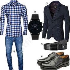 Elegantes Herren-Outfit kariertes Kayhan Hemd, Moderno Sakko, Gigandet Chronograph, A. Salvarini Jeans, Bugatti Gürtel und Gordon & Bros Schuhen.