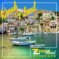 Greek Islands ( 7 Days-6 Nights)  *Athens - Mykonos - Santorini  *Airport Transfers  *Guided Daily Tours   Contact us now info@zegantravel.com  http://www.zegantravel.com/Zt-604-Greek-Islands  #greek #greece #greecetour #greecetravel #greekislands #island #athens #mykonos #santorini #tour #travel
