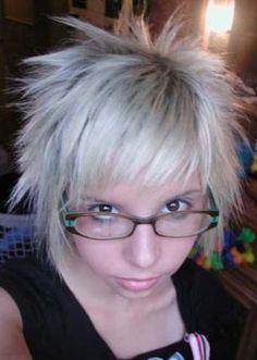 white emo hairstyle