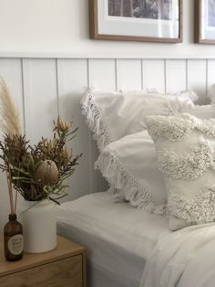 DIY wall panel bedhead l Decorative design feature in bedroom - STYLE CURATOR bedroom wall decor travel Home Bedroom, Bedroom Decor, Bedroom Headboards, Master Bedroom, Wall Decor, White Wall Paneling, Wall Panelling, Wood Panneling, Feature Wall Bedroom