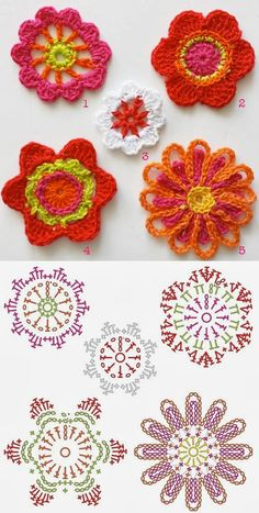 Bees and Appletrees (BLOG): bloemen haken - crochet flowers
