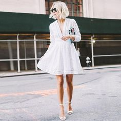White Eyelet Dress # In Dior Trends Of Summer Apparel Eyelet Dress White Dress Must-Have Dress 2015 Dress Where To Get Dress How To Style Little White Dresses, White Outfits, Cool Outfits, Summer Outfits, White Summer Dresses, White Dress Outfit, Dress Black, Casual Outfits, Fashion Mode