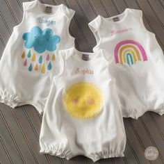 Adorable simple play rompers for baby designed by Hallmark artist Amber Goodvin you can personalize - exclusively at Hallmark Baby