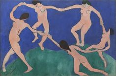 """Dance (I)  Henri Matisse (French, 1869–1954)    Paris, Boulevard des Invalides, early 1909. Oil on canvas, 8' 6 1/2"""" x 12' 9 1/2"""" (259.7 x 390.1 cm). Gift of Nelson A. Rockefeller in honor of Alfred H. Barr, Jr. © 2012 Succession H. Matisse, Paris / Artists Rights Society (ARS), New York"""