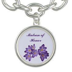 Purple Spring Floral Wedding Matron of Honor Bracelet