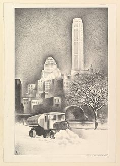 Louis Lozowick (American (born Ukraine), 1892–1973). New York Snow Scene, 1934. Published by PWAP. The Metropolitan Museum of Art, New York. Loan, Lent by the United States Government, Public Works of Art Project, New York Regional Committee, 1934 (34.104.43)