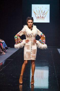 Handmade knitted dresscoat HUNDERTWASSER HOUSE  by annalesnikova,