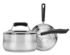 2 Quart Covered Sauce Pan with Steamer Insert A perfect combination for a healthier way of living. This 2 quart sauce pan can double as a steamer - for seafood, veggies, anything you want to steam. Splatter Screens, Double Boiler, Kitchen Equipment, Steamer, How To Cook Pasta, Range, Stainless Steel, Cookware, Seafood