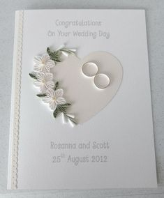 Quilled wedding card paper quilling by PaperDaisyCards on EtsyUse vellum / white embossing, petite petals punchQuilled wedding day card congratulations personalized withIdeas for wedding card congratulations grooms die cut heart witha spray of quille Pretty Cards, Love Cards, Wedding Congratulations Card, Wedding Cards Handmade, Personalized Wedding, Wedding Anniversary Cards, Card Wedding, Wedding Cake, Wedding Invitations