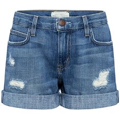 Current/elliott - The Boyfriend Distressed Rolled Shorts ($188) ❤ liked on Polyvore featuring shorts, ifchic, destroyed denim shorts, ripped shorts, destroyed shorts, torn shorts and destroyed boyfriend shorts