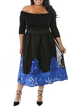 4202f10eb4f4 Cfanny Women Off Shoulder Embroidery Plus Size Cocktail S... https    ·  Blue LacyDresses To Wear ...