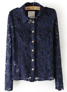 Blue Lapel Long Sleeve Pockets Lace Blouse #SheInside