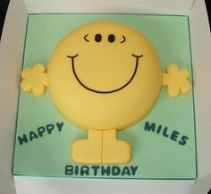 mr happy cake Mr Men and Little Miss cakes party kids boys girls birthday cupcake popcake cookies
