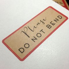 Please Do Not Bend Stickers - 30 Kraft Brown Vintage Look Mail Stickers