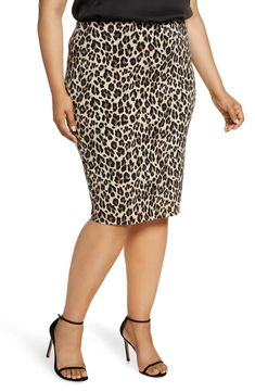 Plus Size  Brown Leopard Print Spot Long Maxi Skirt 14-28