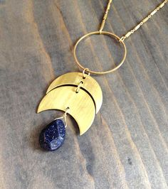 By Bluetribe etsy shop <3 Crescent moon phase and faceted blue sandstone teardrop | crescent necklace | double horn | starry night | lunar necklace | geometric | moon ***************************************