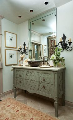 Using a buffet as a bathroom vanity | we like to incorporate head knocker cabinets into our bathrooms