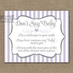 Don't Say Baby Shower Game - Lilac & Silver Glitter - Printable Purple Baby Shower Game - Instant Do Lavender Baby Showers, Pop Baby Showers, Baby Shower Purple, Purple Baby, Cute Baby Shower Games, Baby Shower Items, Popcorn Favors, Baby Shower Welcome Sign, Shower Favors