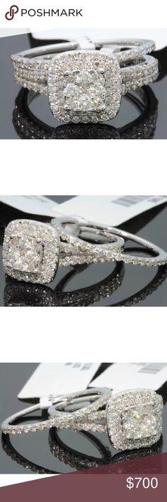 Gorgeous 1.5 carat 10k white gold diamond ring set Gorgeous 1.5 carat 10k white gold diamond ring set Jewelry Rings