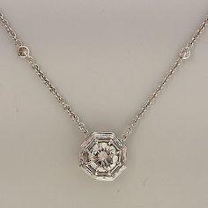 Vintage Art Deco 18k White Gold Cable Link 1.46ct Diamond Pendant Chain