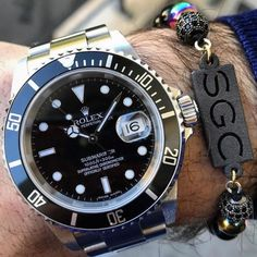 Personalised Name Initials men's beaded bracelet with rolex - men's fashion