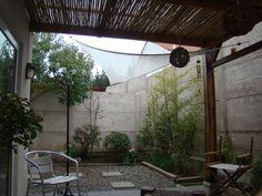 Terraza a media luz, con techo de coligues.