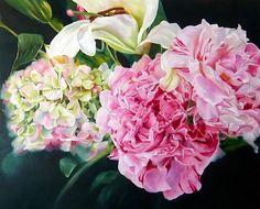 Peonies and Hydrangea - Lee Dewsnap Beautiful Paintings Of Flowers, Beautiful Flowers, Flower Paintings, Art Flowers, Art Floral, Flower Art Drawing, Peonies And Hydrangeas, Acrylic Painting Flowers, Love Art
