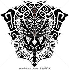 Tribal God Mask with Alpha and Omega symbol vector illustration