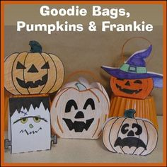 These are great Hallowe'en Crafts!Includes step-by-step instructions and templates needed to create everything PUMPKIN.Templates for 2 different Goodie BagsTemplates for 2 different Decorative PumpkinsTemplate for Frankenstein (just to mix it up a bit)2 Hallowe'en cards.Requires:  Paper (light cardstock would be extra special), glue, coloring pencils and scissors.Enjoy and Happy Hallowe'en