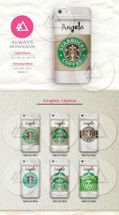 Starbucks Monogram Phone Case,iPhone 5 case, iPhone 5c Case, iPhone 5s case, iPhone 4s Case,iPhone 4 Case, Samsung Galaxy S3, S4, S5, Note 3 on Etsy, $7.99