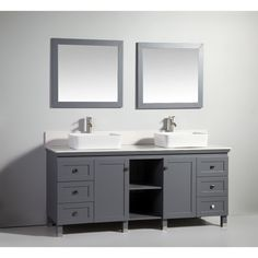 Keep your bathroom looking fresh and modern with this vanity and mirror set. This vanity is finished in darl gray and features a clean white sink and matching mirrors.