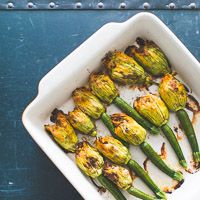 Zucchini Flowers Recipe Stuffed with Bacon, Ricotta, Mushroom