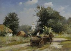 Paintings by Yuri Zhurko Country Barns, Ukrainian Art, Traditional Landscape, Village Houses, Yuri, Art Projects, Around The Worlds, Statue, Drawings