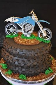motorcycle cakes - Basketweave tip for tire treads birthday, idea, bike cake, cakes, food, motorcycl cake, motorcross cake, parti, motocross cake